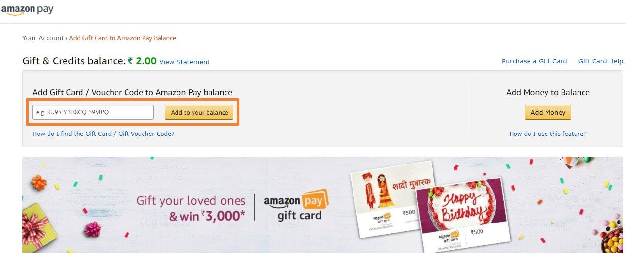 Add giftcard on amazon