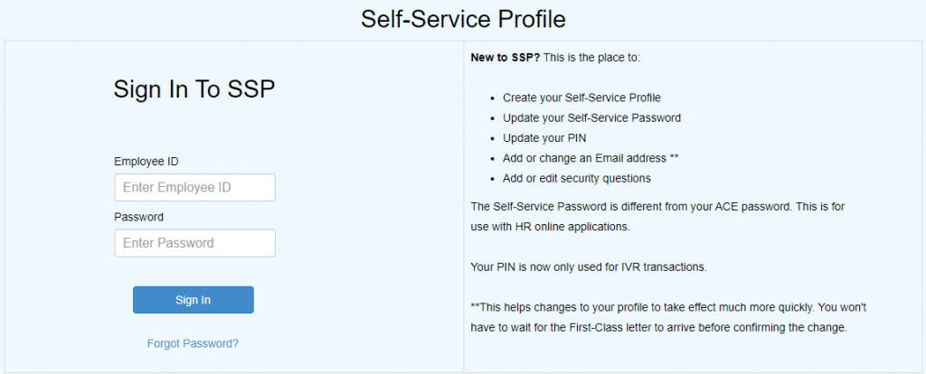 Sign In to SSP