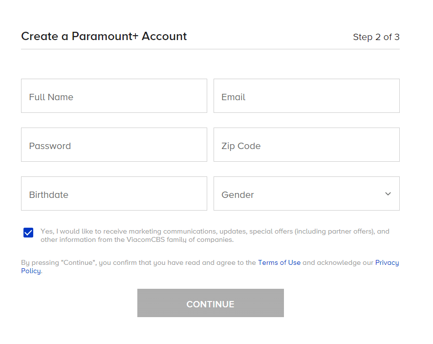 Create a Paramount+ Account
